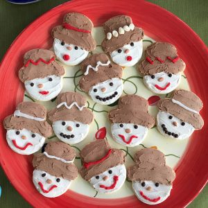 Sugar cookies decorated like snowmen