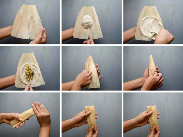 wrapping tamales step by step