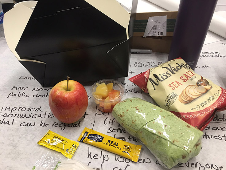 Boxed vegan lunch from the Raleigh Convention Center