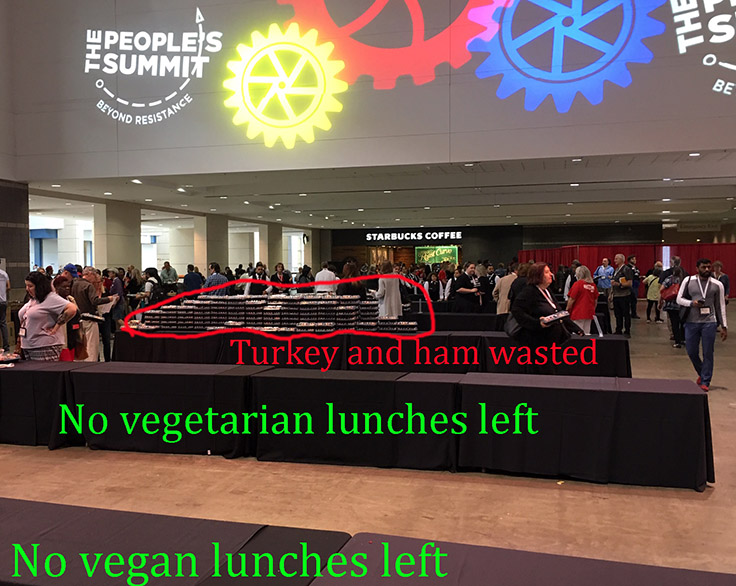 empty tables for vegan and vegetarian lunches, left over turkey and ham lunches at the People's Summit