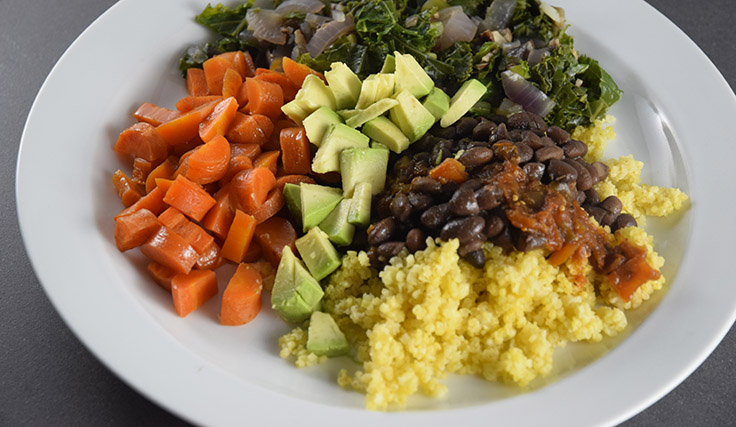 dinner: beans, greens, carrots, millet, and avocado