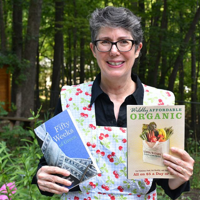Linda Watson with her books Fifty Weeks of Green and Wildly Affordable Organic