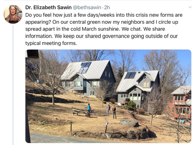 @bethsawin tweet showing neighbors standing at a safe distance in a grassy common area