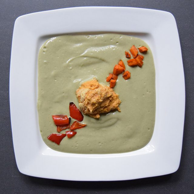 Green Bean Velvet Soup with Hummus and Roasted Carrots and Red Bell Pepper