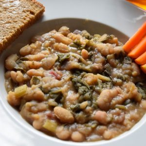Marcella beans with chard, toast, and carrots