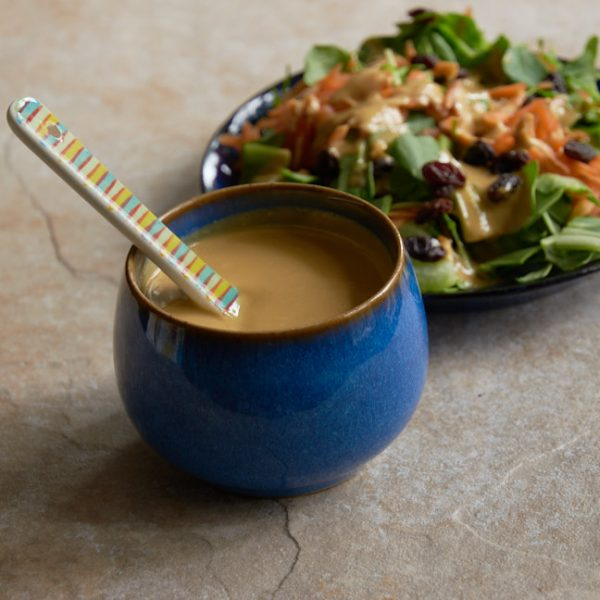 lemon tahini dressing with a salad