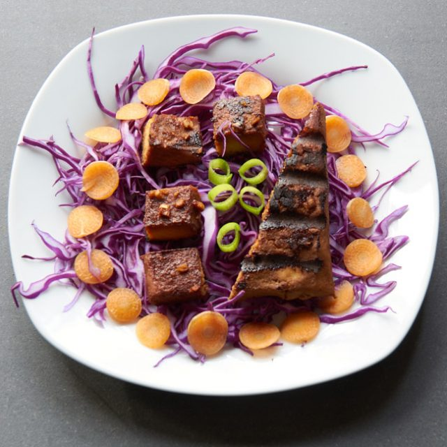 grilled and baked tofu on a salad of red cabbage, carrots, and green onions.